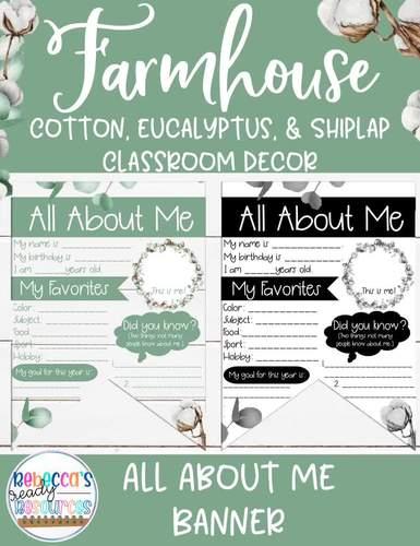 Farmhouse Classroom Decor - All About Me Banner