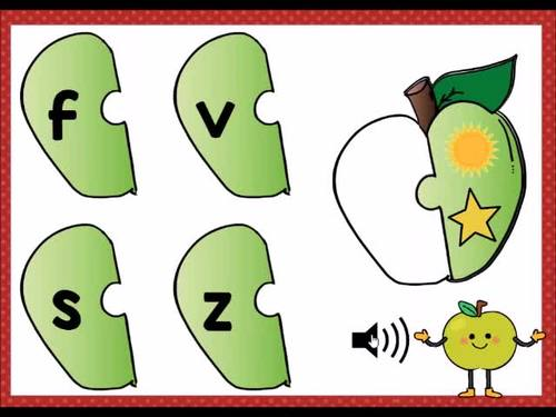 Letter Sounds, Beginning Sounds Apple Puzzles Digital Boom Cards