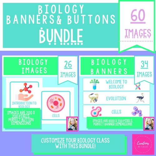 Biology Buttons And Banners Bundle Digital Decor Distance Learning