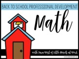 Back to School Professional Development: Number Sense and