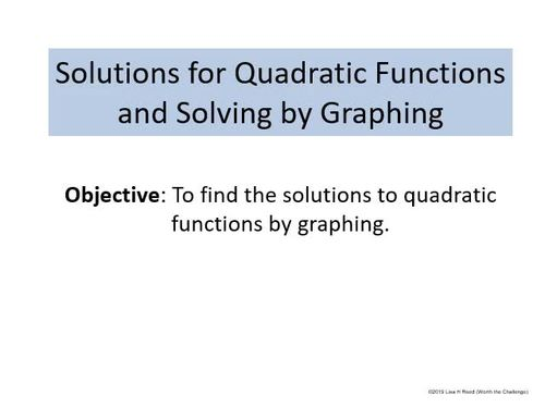 Quadratic Funtions Unit:  9 PPT Lessons with Student Notes - editable version