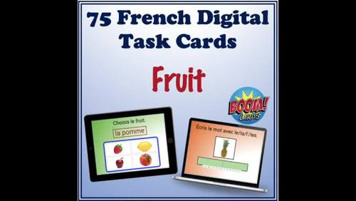 French Fruit Vocabulary Digital Task Cards (75 Boom Cards)