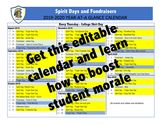 Editable school year activity calendar