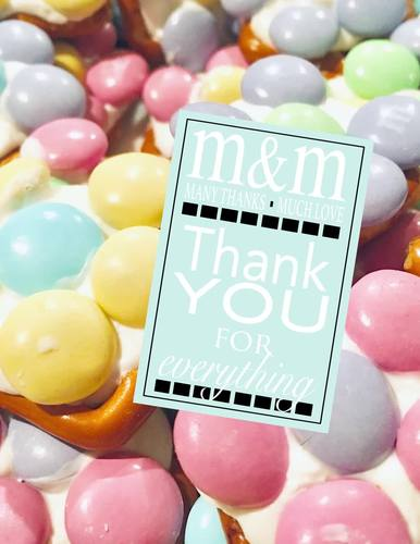 """M&M """"Many Thanks Much Love"""" Thank you Card or Tag"""