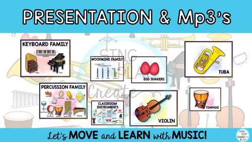 Instrument Families Bundle: Lesson, Posters, Mp3's, Story, Worksheets, Games