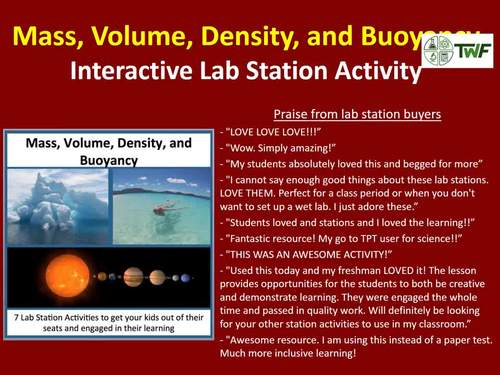 Mass, Volume, Density, & Buoyancy - 7 Lab Station Activities