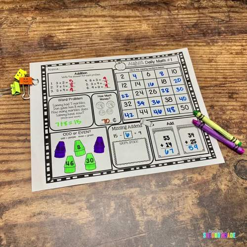Second Grade Morning Work | Daily Math Review | Bundle