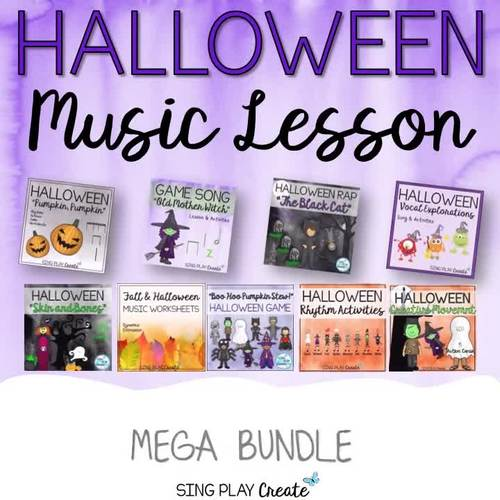 Halloween Music Activities Bundle: Lesson Songs, Games, Printables, Kodaly, Orff