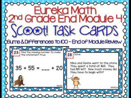 Eureka Math 2nd End-Module 4 Review Scoot Task Cards with Boom™ Digital Option