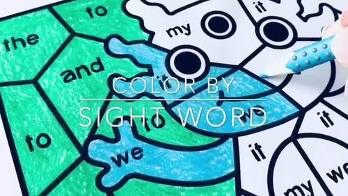 Color by Sight Word Worksheets for Pre-Primer