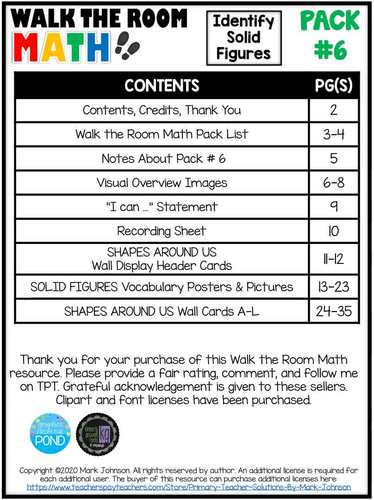 Walk the Room Math Pack 6: Geometry: Solid Figures (K.G.A.1, K.G.A.2, K.G.A.3)