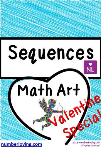 Sequences Valentine Special (Math Art) Worksheets