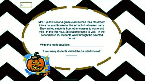 Halloween Math Word Problems on Task Cards