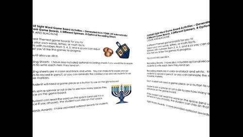 Hanukkah Sight Words Game Boards - Editable Color & Blackline Set 2