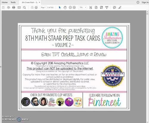 8th Grade Math STAAR Review & Prep - Task Cards (Set #2 ...