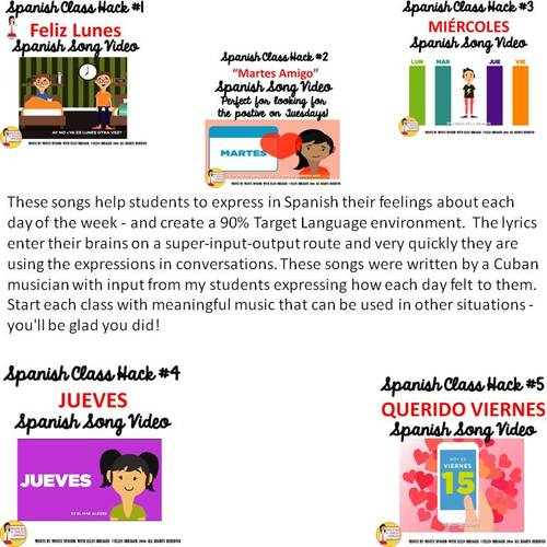 Perfect Pre-Class Routine - Spanish Musical  Video  lunes -  viernes!