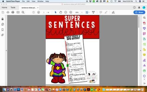 Sentence building slider tool
