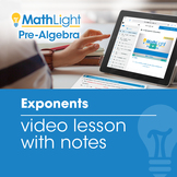Exponents Video Lesson with Student Notes | Good for Dista