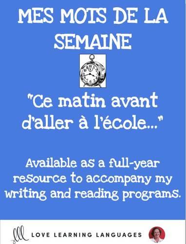 Le vocabulaire de la semaine #9 - French week-long vocabulary program