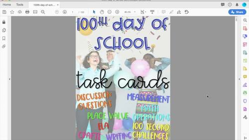 100th Day of School Activities - Task Cards - Upper Elementary