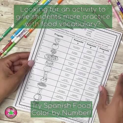 Spanish Food  Activity | Color by Number | Colorea por número