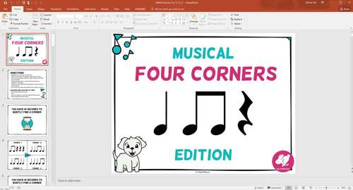 Musical Four Corners, High and Low Game, PowerPoint with Audio