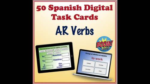 Spanish AR Verbs Digital Task Cards (50 Boom Cards)