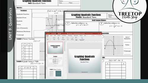 Graphing Quadratic Functions (Standard Form) - Notes, Slideshow, and Practice