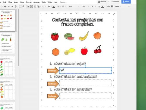 Spanish Food La comida Google Drive Activities Distance Learning