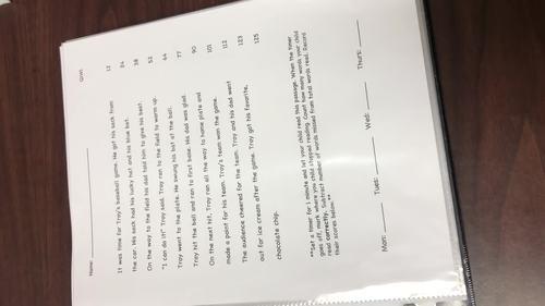 Oral Reading Fluency Homework Quarter 3 NO PREP (complete third nine weeks)