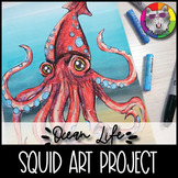 Ocean Art Project, Giant Squid Mixed Media Art Lesson