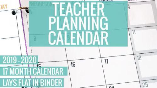2019-2020 Printable Teacher Planning Calendar Template