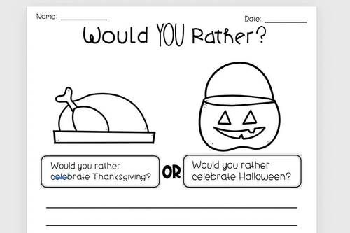 5 Days of Opinion Writing - Would You Rather, FALL