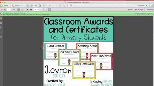 EDITABLE Awards and Certificates | Classroom Awards - Chevron