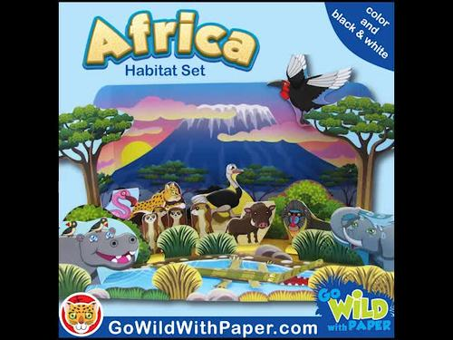 African Habitat Craft Activity | African Waterhole Habitat Diorama | Paper Model