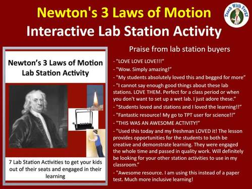 Newton's Three Laws of Motion - 7 Engaging and Unique Lab Station Activities