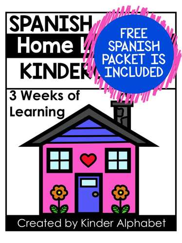 Kindergarten Home Learning  Packet- plus FREE Spanish (Distance Learning)