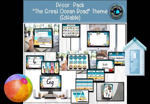 'THE GREAT OCEAN ROAD' Themed Decor Pack (Editable)