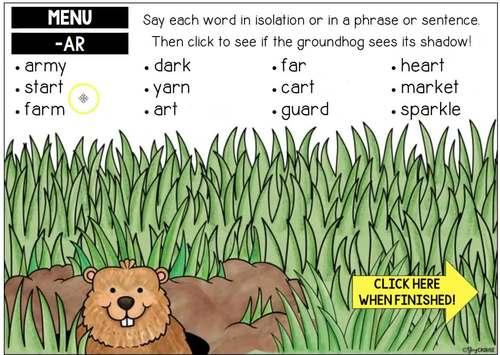 Groundhog Day Articulation BOOM CARDS™ No Print