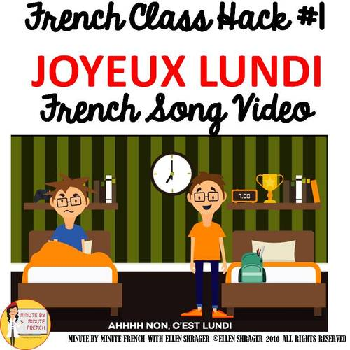 """1 French Class Transition Video """"Monday"""" for CI TCI TPRS and 90% Target Language"""