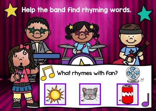 Rockin' Rhymes Rhyming Words Digital Boom Cards Distance Learning