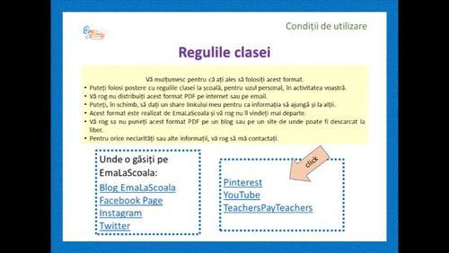Classroom Rules Posters with Dots in Romanian, Regulile clasei buline in Română