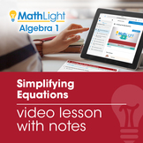 Solving Multi-Step Equations Video Lesson with Guided Note