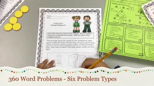 2ND GRADE MATH WORD PROBLEMS IN ENGLISH - YEAR BUNDLE (360 Word Problems)