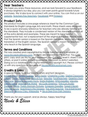 Third Grade Common Core Standards Cheat Sheets