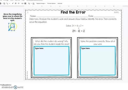 Error Analysis Math Tasks *Google Slides™ Included for Distance Learning