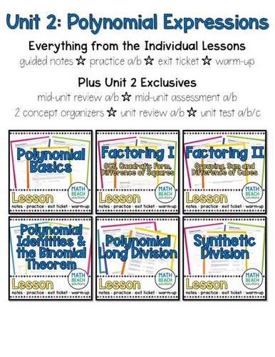Unit 2 + Activities: Polynomial Expressions - Algebra 2 Curriculum
