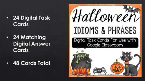 Halloween Idioms and Phrases | Self-Checking Digital Task Cards