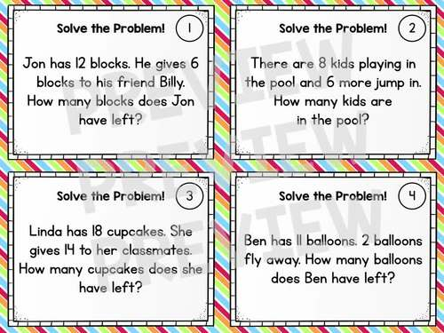 Word Problem Solving Task Cards - Grade 1 Math Addition