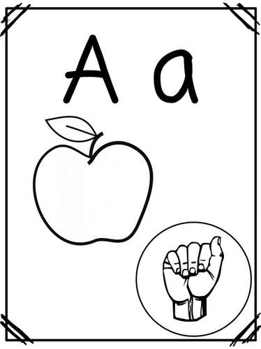 ASL Alphabet & Number Cards/Posters | ABC Pictures | Phonics | Black & White
